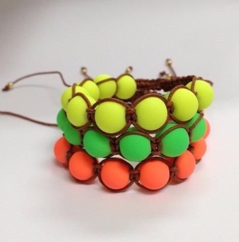 Kit 3 Pulseiras Shamballas Neons 02