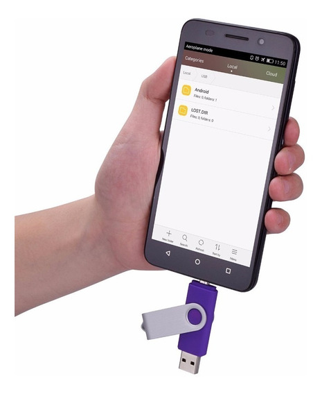 Pen Drive 16gb Com Duas Entradas Usb, Para Celulares Com Otg