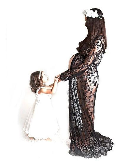 Vestido Aberto Renda Ensaio Fotos Gestante Grávida Maternal