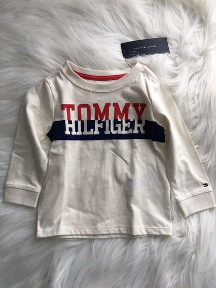 Camiseta Infantil Manga Comprida Off White Tommy Hilfiger 18 Meses