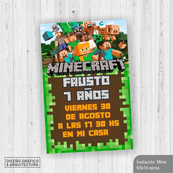 Invitaciones Cumpleanos Minecraft Souvenirs Cotillón Y