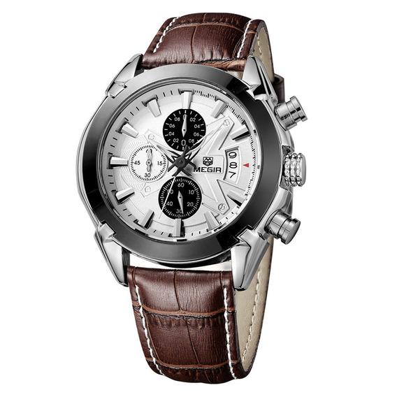 Megir Marca Nueva Moda Hombre Reloj Cuero Banda 3 Peque?os