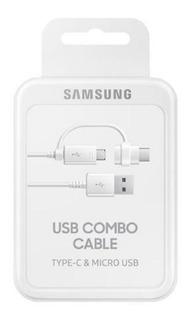 Cabo De Dados Duplo Usb-c Micro Usb Original Samsung Branco