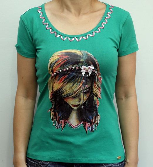 Camiseta Feminina Capim Canela Cotton Estampa Moça R8005
