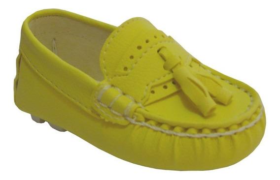 Mocassim Cravinho Sapato Amarelo Infantil Bebe 20ao30 Mickey