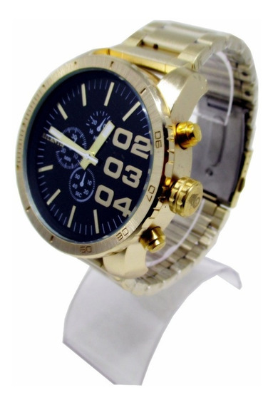 Relógio Masculino Atlantis Dourado Fundo Preto