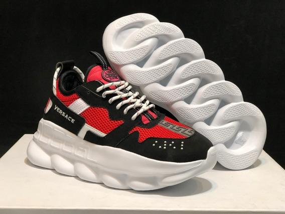 Versace Tênis Chain Reaction Black / Red