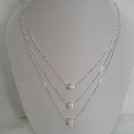 Collar Triple De Cadena De Plata .925 Con Perla Akoya 9 Mm