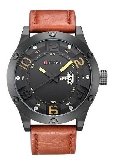 Relógio Masculino Original Em Couro Marrom Grande Esportivo