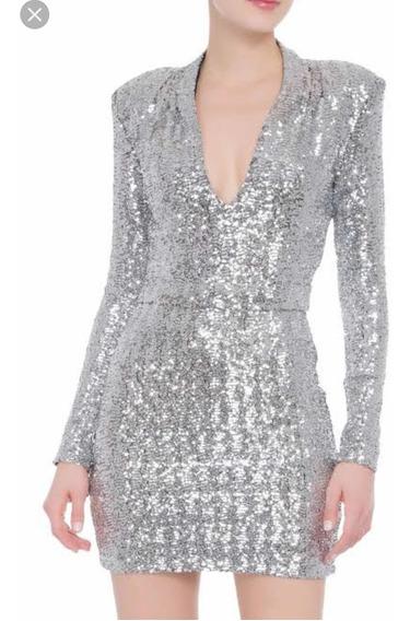 Vestido Le Lis Blanc Curto Prata Modelo Heloísa - Tamanho M