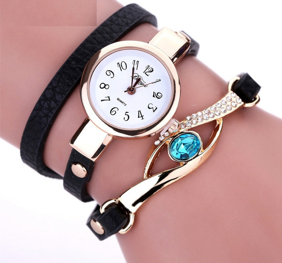 Relógio Feminino Pulseira De Couro, Com Pedra Vintage S23