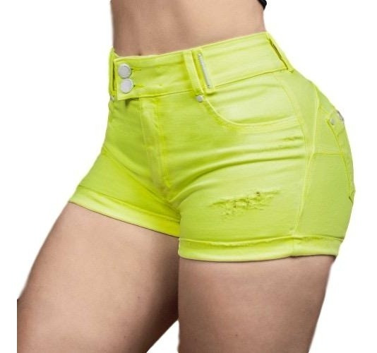 Short Pit Bull Jeans 34933 Neon Pitbull Cintura Alta