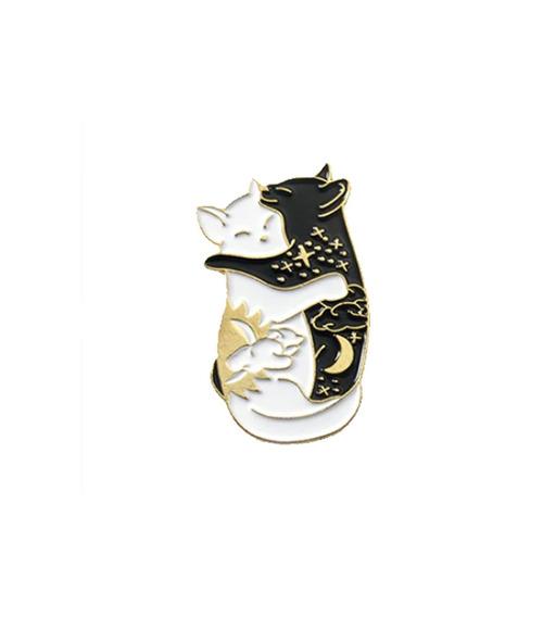 Pin Gatos Yin Yang - Blanco Negro Cat Gatitos