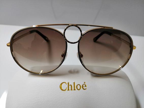 Óculos De Sol Chloé Romie Ce144s Metal E Marrom Degredê