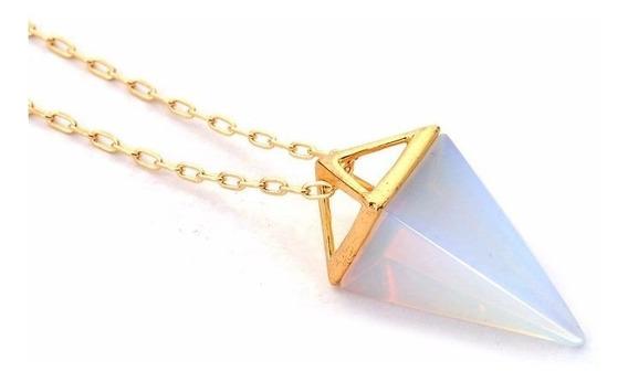 Colar Cordão Amuleto Pedra Pirâmide Opalina Root