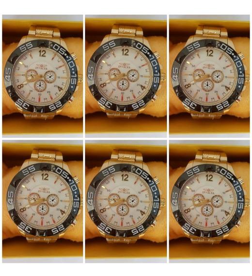 Kit C/ 5 Relógio Masculino Pulseira De Aço Dourado Atacado Revenda + 5 Caixas + 5 Baterias Extras Promoção Frete Gratís