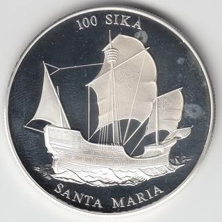 Ghana Moneda 100 Sika 2000 Proof Plata Km X#24
