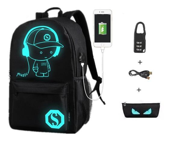 Anime Luminoso Mochila Backpack Brilla Oscuridad Luffy Music