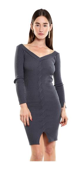 Vestido Midi Mujer Tejido De Punto Color Oxford Lob