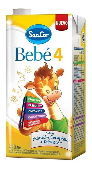 Leche de fórmula líquida Sancor Bebé 4 por 24 unidades de 1L