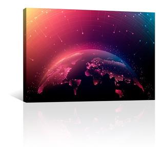 Cuadro Decorativo Canvas Mapas Del Mundo Tecnologico Digital