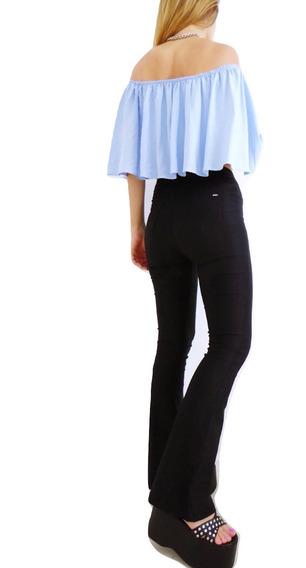 Pantalon Oxford Mujer Bengalina Elastizado Tiro Alto Vestir Calce Perfecto Negro Blanco Talles