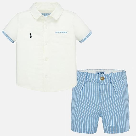 Conjunto Camisa Y Bermudas Rayas Lino Bebé Niño