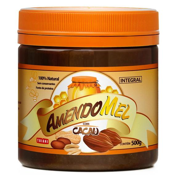 Pasta De Amendoim Amendomel 500g Com Cacau Sem Açúcar