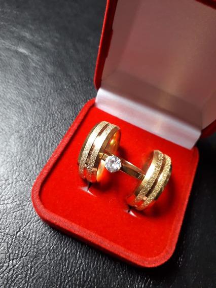 Par De Alianças Diamantadas Banhadas A Ouro 18 K +anel