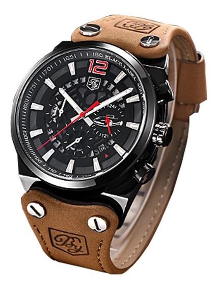 Relógio Masculino Benyar Pulseira Couro Black Luxo