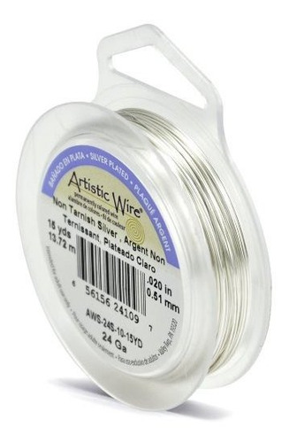 Artistic Wire 24gauge Antideslizante Alambre De Plata 15 Yar