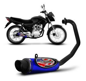 Escapamento Moto Cg Titan 150 Ex Esportivo Azul Shutt