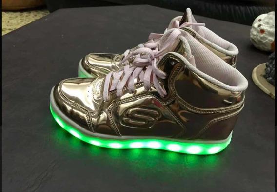 Zapatillas Skechers C Luz Doradas