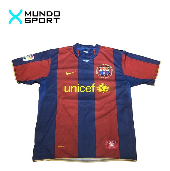 Camiseta De Barcelona Nike Titular 2007 #14 Henry Como Nueva