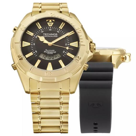 Relógio Technos Skydiver Dourado Original Com Nota - Loja