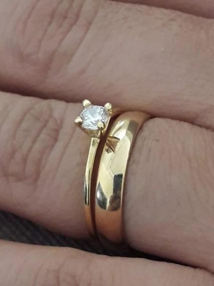 Anel Em Ouro 18k Solitario Noivado Namorada Garantia Eterna