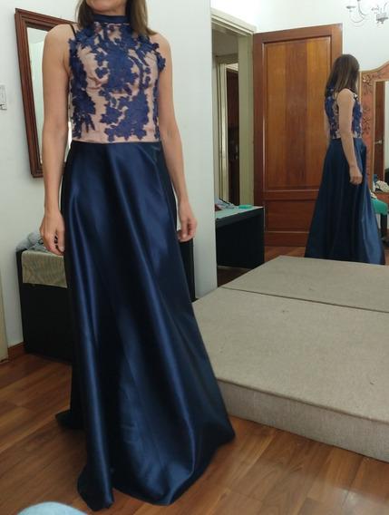 Vestido Azul De Raso Para Fiesta
