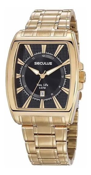 Relógio Seculus Original Quadrado Clássico Dourado