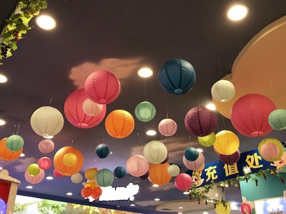 Lanterna Luminária Balão Abajur Oriental De Papel 20cm