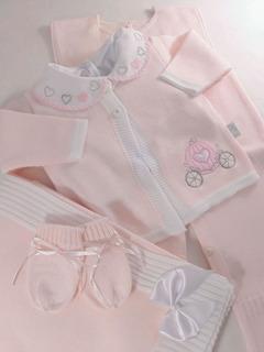 Saida Maternidade Linha Carruagem Rosa Bebê 5 Peças