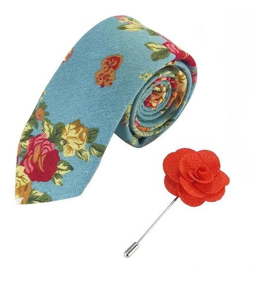 Corbata Floral Slim Turquesa Y Fistol Naranja Combinado