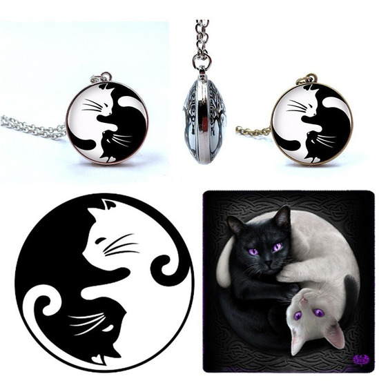 Lindo Colar Dupla Face Cat Love Gatos Yin Yang + Brinde