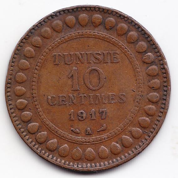 Tunez Moneda 10 Centavos 1917 Bronce Km 236 Vf Muy Bien