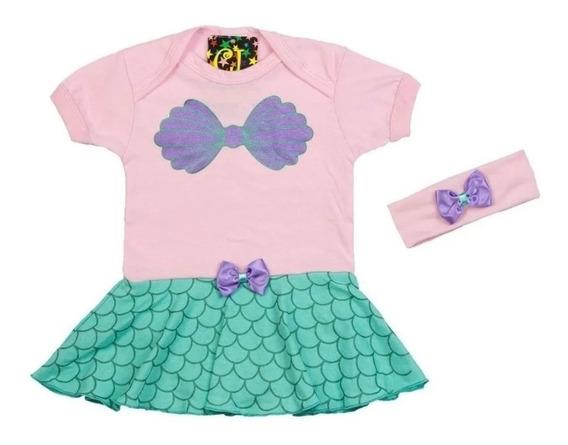 Body Infantil Vestido Pequena Sereia Bcp01