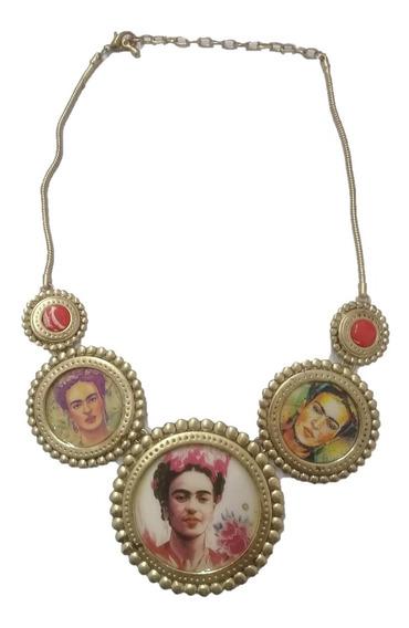 Collar Artesanal Frida Kahlo Y Jabon De Barra Floral Frida