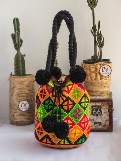 Mochila Wayúu Con Diseños Grandes