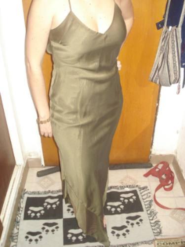 Vestido De Fiesta Verde Seco Tornasolado!!!!!
