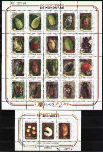 Honduras 2003 - Escarabajos - Hojita De 20 + 1 Bloque