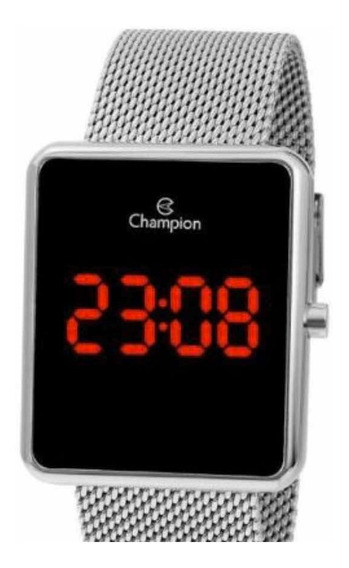 Relógio Champion Digital Prata Led Vermelha Ch40080t