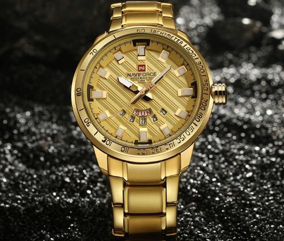 Relógio Masculino Militar Dourado Á Prova D